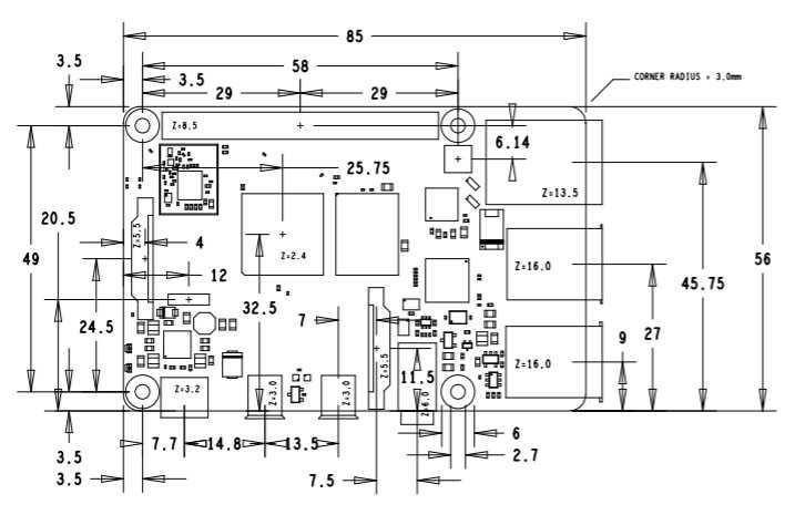 Размерный чертеж  Raspberry Pi 4 Model B